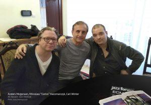 4. Anders Mogensen, Mirosław 'Carlos' Kaczmarczyk, Carl WInter - XII Novum Jazz Festival - photo Jerzy Stelmaszczuk